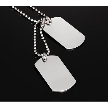 "Stainless Steel Double Dog Tag Necklace Pendant ID Men Jewelry 24"" Chain"