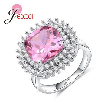 JEXXI Factory Price Solid 925 Sterling Silver Jewelry Shiny Clear Zircon Ring for Women Girls Promise Anillos Pink Color