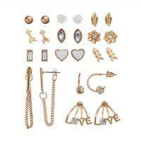Mudd Leaf, Flower, Arrow, Marquise, Heart, ''Love,'' & Chain Stud, Hoop & Drop Earring Set (Gold Tone)