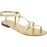 Women's Metallic Cross-Strap Sandals