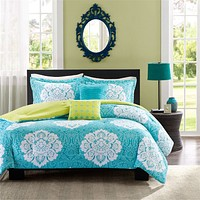 Queen 5-Piece Comforter Set in Teal Blue White Damask Pattern with Green Reverse