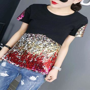 VLXZGW7 Fashion Casual Multicolor Embroidery Sequin Letter Round Neck Short Sleeve T-shirt Shirt Top Tee