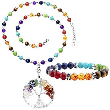 SHIP BY USPS: Top Plaza 7 Chakra Gemstones Tree of Life Healing Crystal Energy Yoga Balance Meditation Semi Precious Beads Necklace Bracelet Set