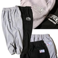 Champion x Supreme Drawstring Fashion Print Pants Trousers Sweatpants