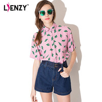 LIENZY 2016 Summer Women Shirts Cactus Print Single Breasted Half Sleeve Slim Pink Polo Neck Women Blouse Shirts For Holiday