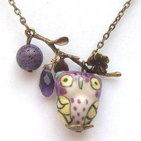 Antiqued Brass Branch Coral Quartz  Porcelain Owl Necklace