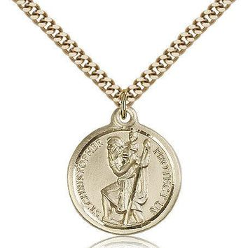 "Saint Christopher Medal For Men - Gold Filled Necklace On 24"" Chain - 30 Day ... 617759891737"