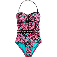 Volcom Hot Pink Call Me Wild Leopard Print One-Piece Swimsuit - Women's
