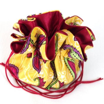 Jewelry Drawstring Travel Pouch Calypso Leave Swirl in Yellow  Extra Large