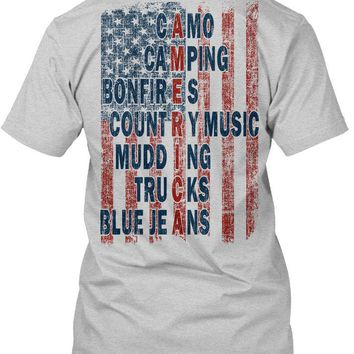 American Flag - Camo Camping Bonfires Country Music Mudding Trucks Blue Jeans - Unisex T-shirt