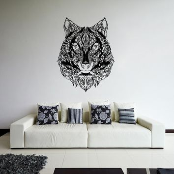 ik923 Wall Decal Sticker wolf head tattoo style feathers bedroom