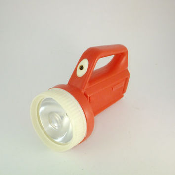 Vintage Flashight Lantern White and Red Light Flashlight Lamp Lantern With Handle