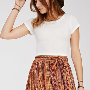 Pleated Tribal Print Skirt