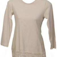 Oatmeal Lacey Cotton Shell Modest Shirt