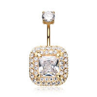 Golden Princess Magnificent Sparkle Belly Button Ring (Clear)