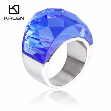 Kalen Ethnic Crystal Engagement Rings For Women Stainless Steel Jewelry Rings With Big Blue Glass Finger Rings For Party Wedding
