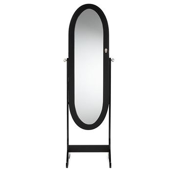 Baxton Studio Apache Black Finish Wood Oval Shaped Free Standing Cheval Mirror Jewelry Armoire Set of 1