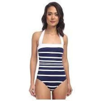 Ralph Lauren Womens Navy Kaylee Stripe Bandeau Mio One Piece Swimsuit Size 10