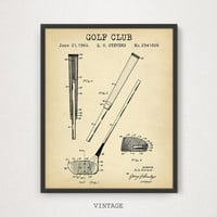 Golf Club Patent Printable, Digital Download, Man Cave Decor, Golf Mom, Nursery Wall Art, PGA Golf, Vintage Golf Blueprint Poster Golf Gifts