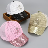 2017 Sequins Children Baseball Cap Girls Black Pink Mesh Hat Pendant Star Summer Snapback Caps Casquette Bone Hip Hop Hat Gorras