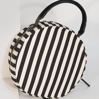 Retro Style Black & White Stripe Fabric Round Handbag