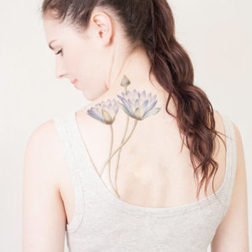 Vintage Waterlily Temporary Tattoo, Extra Large tattoo
