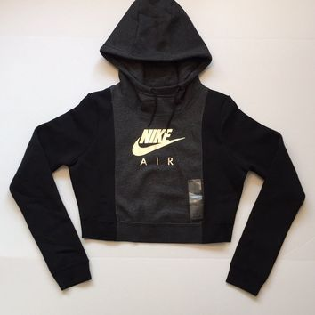 KUYOU Nike Womens Rally Metallic Air Crop Hoodie Black 855422-032