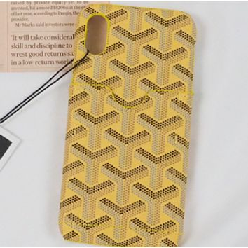 GOYARD cortical-card iphone6sp hard 7plus tide X luxury 8 phone case Yellow