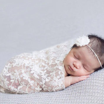 Photography Quilt High-end Atmosphere Embroidery Newborn Maternity Props Baby Lace scarf Photo Props #2415