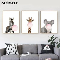Giraffe Zebra Animal Posters and Prints Canvas Painting Wall Art Nursery Blowing Bubbles Decorative Picture for Kids Decoration