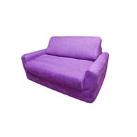 Fun Furnishings Micro Suede Sofa Sleeper w/ Pillows in Purple