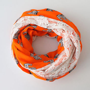 NEW SEASON, Infinity Scarf, Loop Scarf, Circle Scarf, Cowl Scarf, Elephant Print and Floral Lace