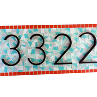 Outdoor House Number Sign // Teal and Coral Mosaic