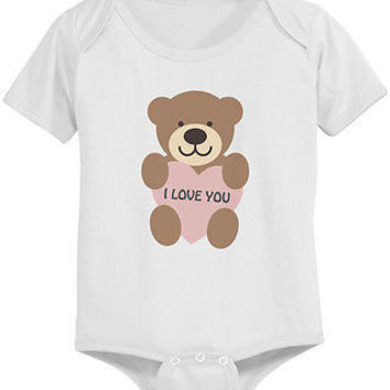 I Love You Bear Cute Baby Bodysuit - Pre-Shrunk Cotton Snap-On Style Baby Onesuit