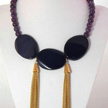 Amethyst Bib Gold Tassel Chain Statement Necklace