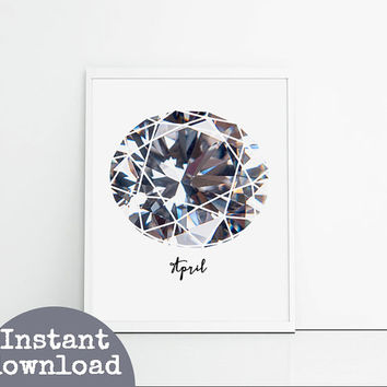 Diamond printable birthstone wall art instant download. 8x10 inch downloadable birthday gift. Birthday art printable, sparkly diamonds