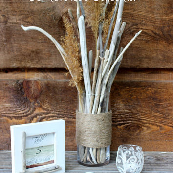 Complete Beach Wedding Centerpieces Twined Driftwood Centerpiece , Table Frame Number and Sand Candle Holder With Seashells