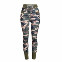 Lace Up Camouflage Mid Waist Pants
