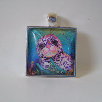 Lisa Frank RAINBOW REEF and Spotted Seal Vintage Sticker Square Pendant Charm Necklace -- Circle, Square, Heart Shapes Available