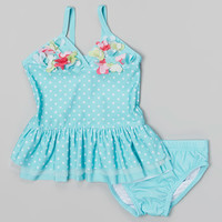 Turquoise & White Polka Dot Tankini - Infant