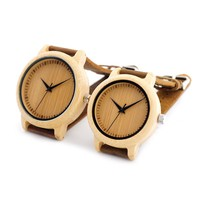 His and Hers Wooden Bamboo Quartz Watch - Leather Strap