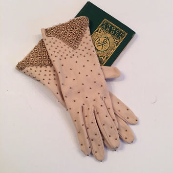 Pre-Mid Century Beaded Ecru Gloves--Fits all sizes