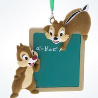 Disney Parks Chip & Dale Chalkboard 3D Christmas Ornament New with Tags