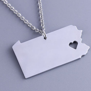 I heart  Pennsylvania Necklace - Pennsylvania Pendant - State Charm - Map necklace - Map Jewelry