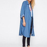 Drop Shoulder Curved Hem Oversized Coat