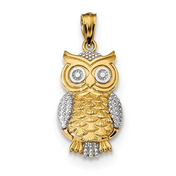 14K Yellow Gold And White Rhodium Textured Owl Pendant