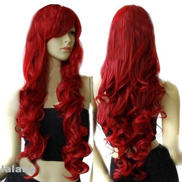 "Women's 32"" Long Heat Resistant Big Spiral Curl Wine Red Cosplay Wigs 80cm New W = 1651540036"