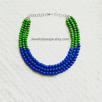 Colorful Green Necklace Royal Blue Necklace Statement Necklace Navy Blue Necklace Layering Necklace Boho Necklace Wedding Gifts