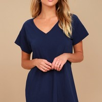 Clear Day Navy Blue T-Shirt Dress