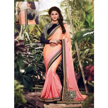 Jennifer Winget Peach and Pink Satin Saree With Blouse - TheEthnicWear